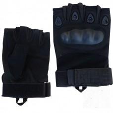 Тактические перчатки с пластиковым кастетом без пальцев, цвет черный