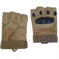 Тактичні рукавички без пальців з накладками Койот