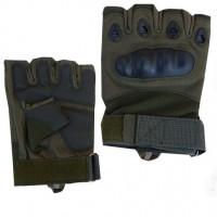 Тактические перчатки с кастетом без пальцев, цвет олива