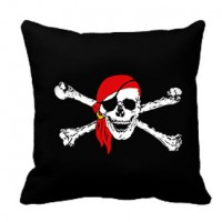 Подушка Пиратский череп в красной бандане