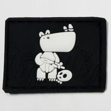 Купить Нашивка Боевой носорог PVC черно-белый в интернет-магазине Каптерка в Киеве и Украине