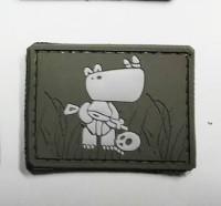 Нашивка Боевой носорог PVC олива