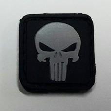 Нашивка череп серый Punisher Patch резина 25мм