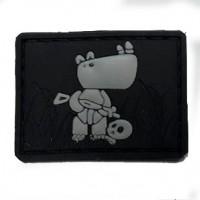 Нашивка Боевой носорог PVC черно-серый