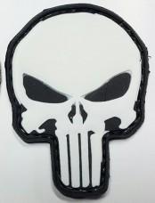 Купить PVC патч Череп Punisher (чорно-білий) в интернет-магазине Каптерка в Киеве и Украине