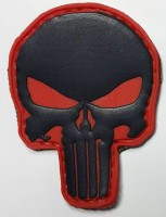 PVC патч Череп - Punisher Patch (чорно-червоний)