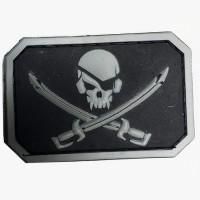 Резиновый шеврон Череп и сабли - PirateSkull PVC черно-серый