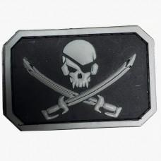 Купить Резиновый шеврон Череп и сабли - PirateSkull PVC черно-серый в интернет-магазине Каптерка в Киеве и Украине