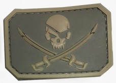 Резиновый шеврон Череп и сабли - PirateSkull PVC TAN