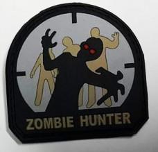 Шеврон Zombie Hunter материал резина на липучке черный-св серый