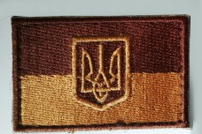 Нашивка флаг Украина с гербом полевая (койот)